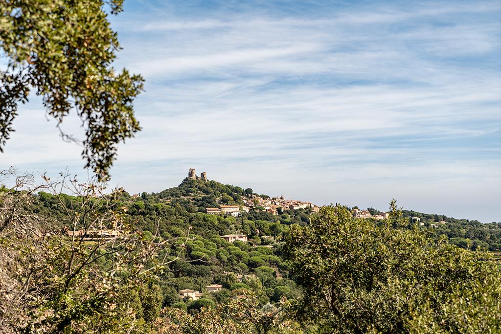 Die Schlossruine von Grimaud thront auf ihrem Berg